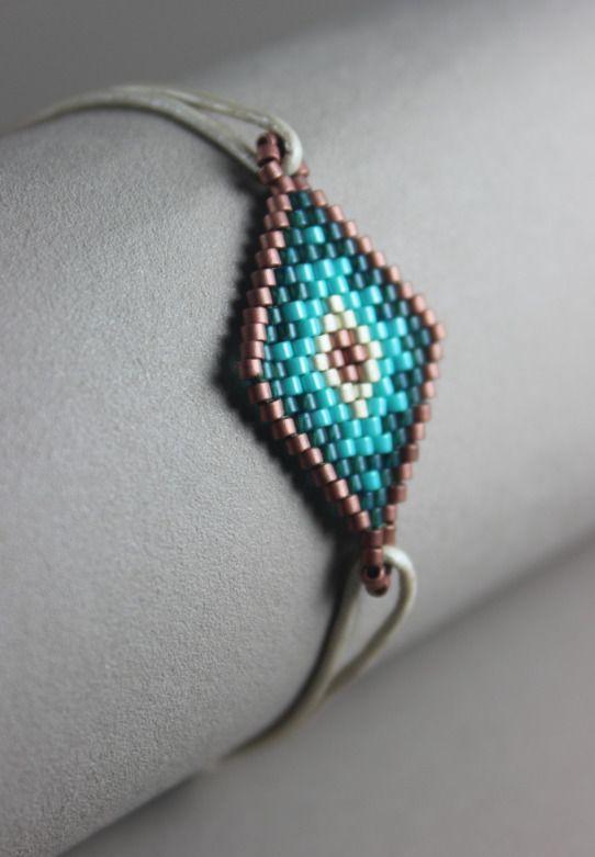 Bracelet GriGri en Miyuki Delica Vert/Bronze