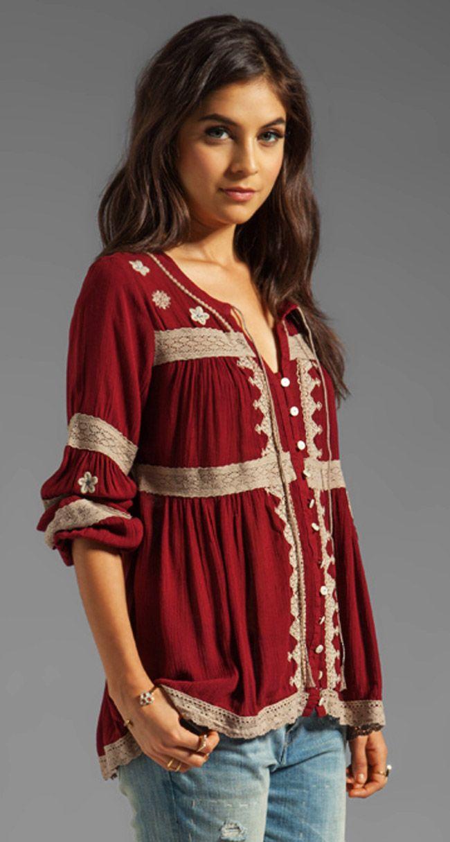 FREE PEOPLE - Iris Boho Top.  Lace trims on a plain shirt.