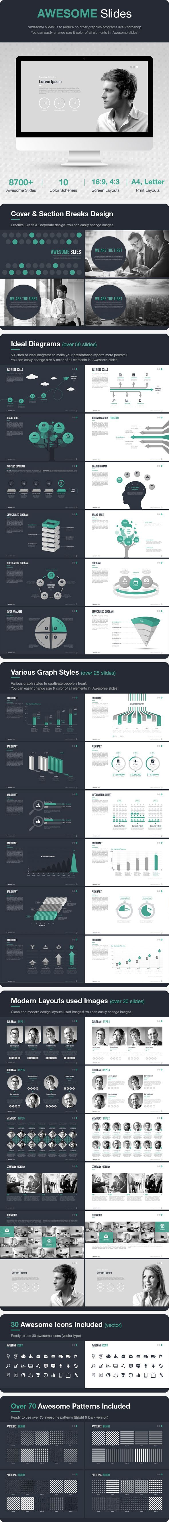 Awesome Slides - Business Powerpoint Templates design / graph / pattern / icon / keynote / infographic