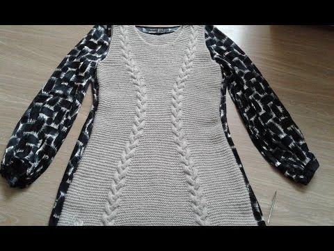 Платье спицами (платочная вязка + косы). Часть 3. - YouTube