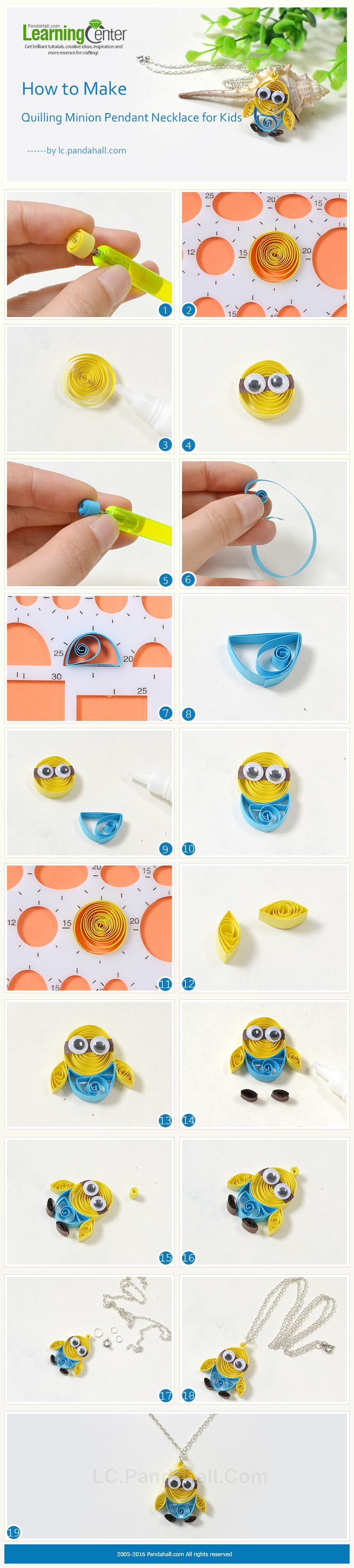 Tutorial for Quilling Minion Pendant Necklace for Kids from LC.Pandahall.com