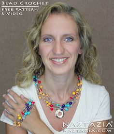 DIY Free Pattern Learn How to Crochet with Beads - Make an Easy Beaded Necklace Bracelet Jewelry Jewellry Jewelery with YouTube Video by Naztazia