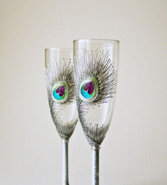 Wedding Glasses Peacock Glasses Silver Glasses by NevenaArtGlass, $52.00