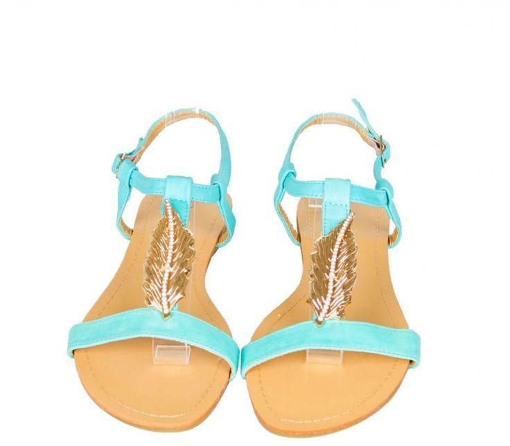 Sandale Dama Leaf Turqoise  -Sandale dama  -Talpa joasa  -Curea ajustabila  -Detaliu auriu