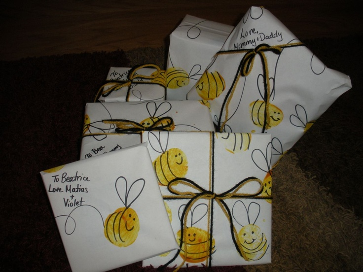 Potato Print Homemade Bee Wrapping Paper  The Handley Home