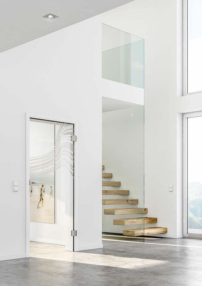 """Glastür """"Tadao"""" mit mattem Motiv. Ein echt außergewöhnliches Design."""