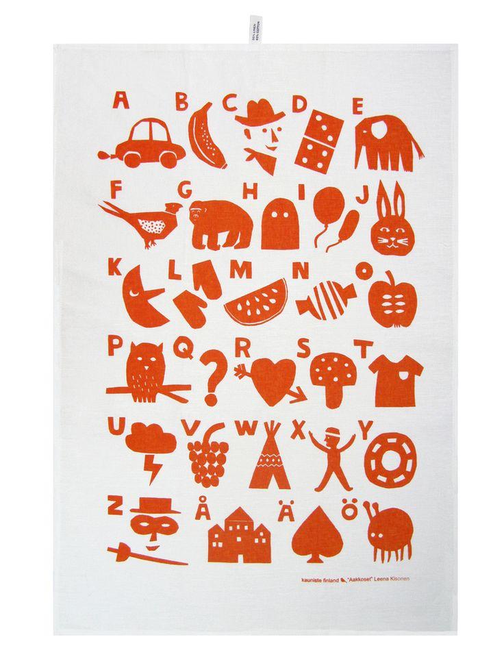 Finnish Alphabet tea towl.  (Aakkoset Red Kitchen Towel / Keittiöpyyhe)