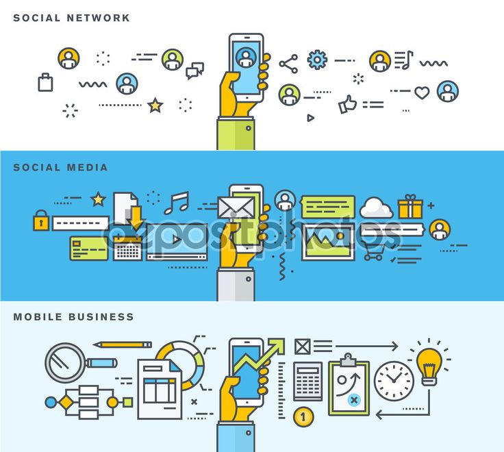 Набор тонкая линия плоский дизайн баннеров для социальной сети, социальные медиа, мобильный бизнес — стоковая иллюстрация #79130364