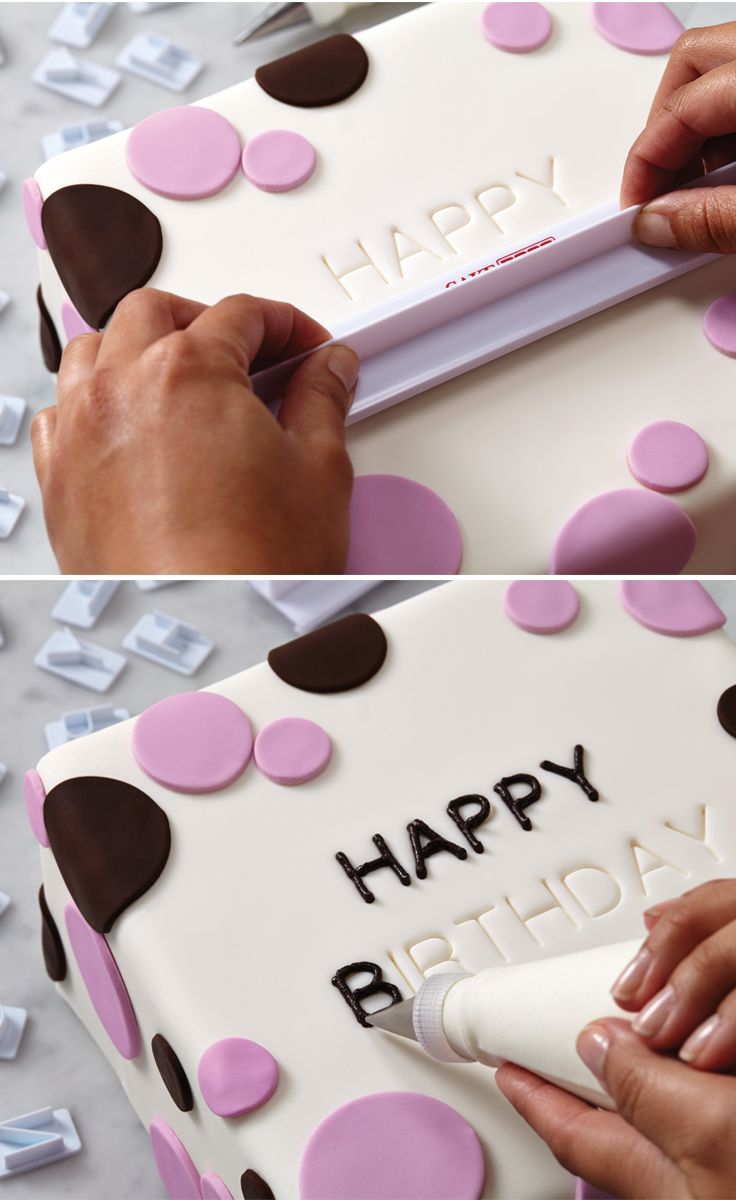 Cake Boss Letter Impression Set Image Sweet messages from the heart — easily personalize fondant or buttercream covered cakes and cupcakes with names, initials, anniversary or birthday messages and dates with this letter and alphabet stamp set. Simply select the letters and numbers you need, arrange them in the tool, press, and trace the embossed phrase with your favorite frosting