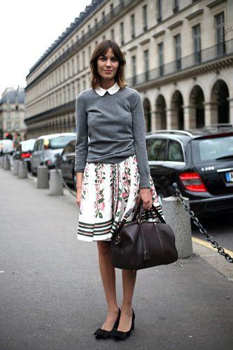 Alexa Chung -- peter pan collarGirls Crushes, Fashion, Clothing, Style Inspiration, Street Style, Peter Pan Collars, Prints Skirts, Colleges Style, Alexa Chung
