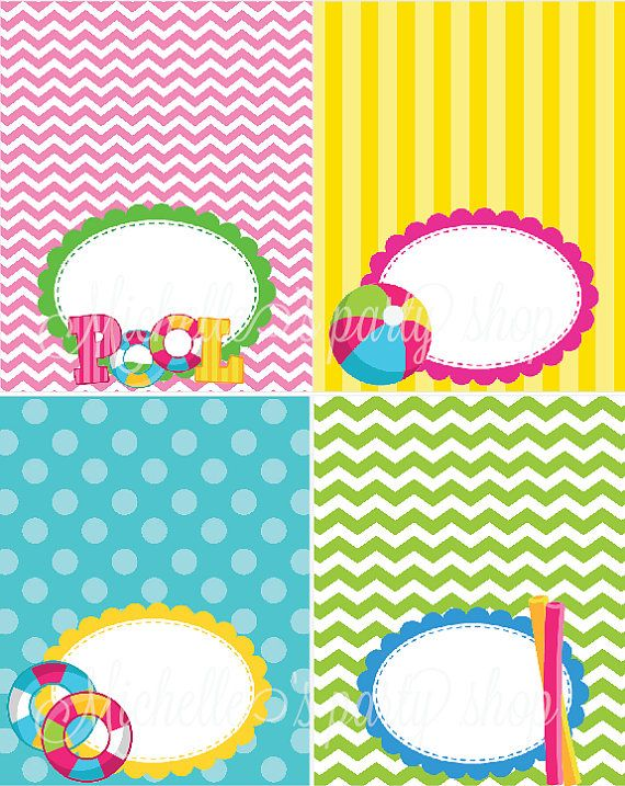 NEW SET OF 12 Pool Party Food Tent Cards Place Cards by mlf465