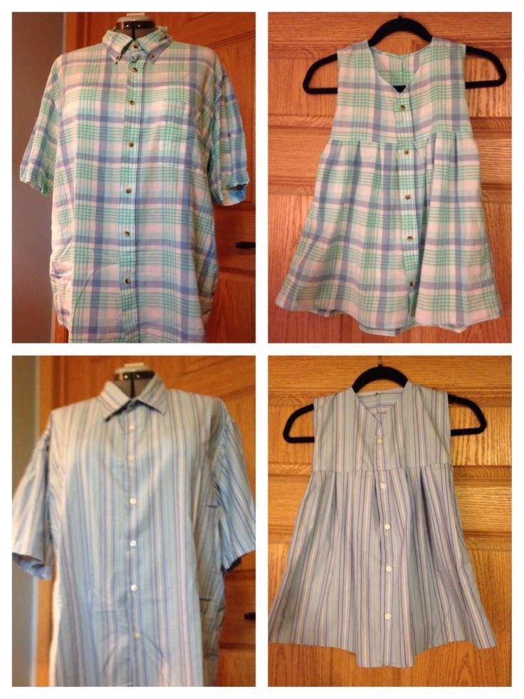 Transformación de camisas en vestidos de niña. Toddler dress from men's shirt without a collar.
