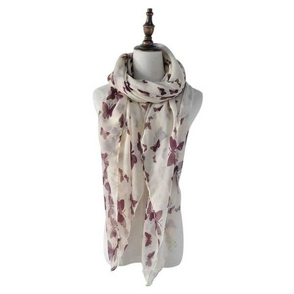 Butterfly Beauty Plum Versatile and lightweight, this butterfly scarf is a definite winner.