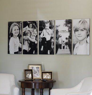 Family picturesFamilies Pictures, Decor Ideas, Black And White, Family Photos, Living Room, Photos Wall, Canvas, Photos Display, Families Photos