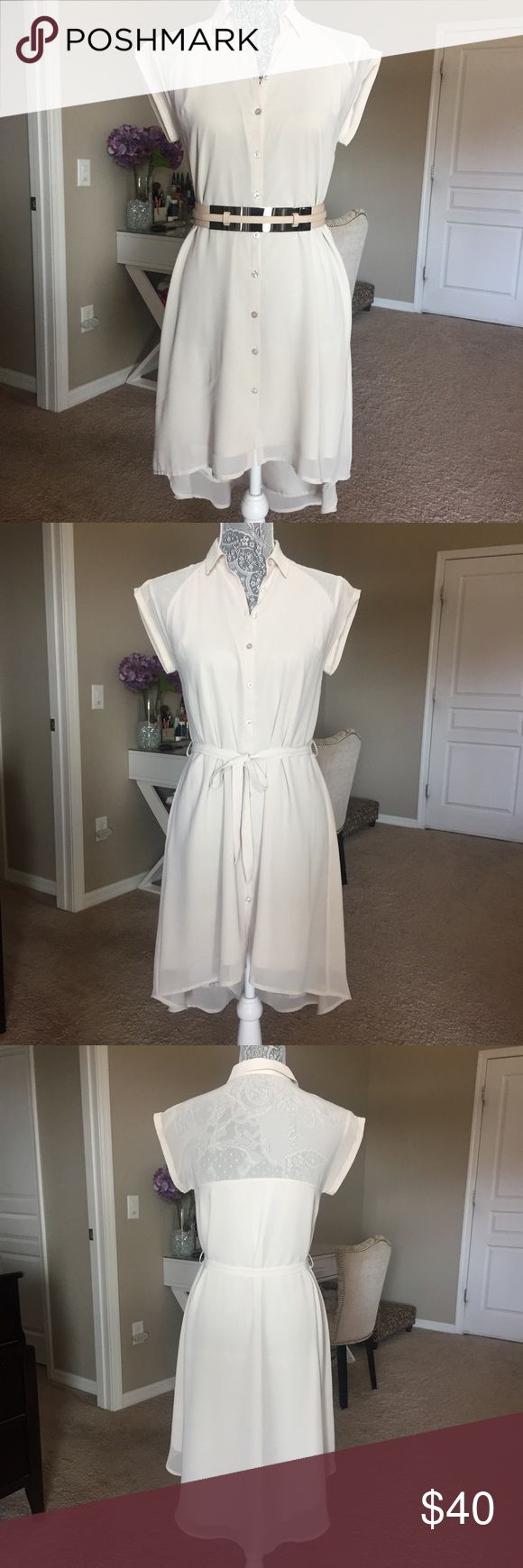 Armani Exchange Hi-Low Button Down Dress Armani Exchange high low button down dress. Sash tie. In overall good condition. Slight stain/discoloration in last pic--not noticeable unless you look very close. NO TRADES. A/X Armani Exchange Dresses High Low