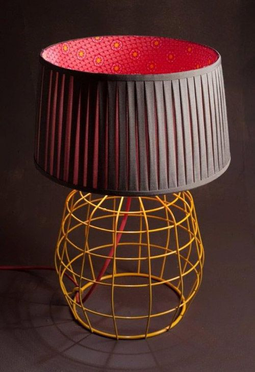 """""""lampshade lined with traditional South African shweshwe fabric"""" - I love this lampshade! Not so much the base..."""
