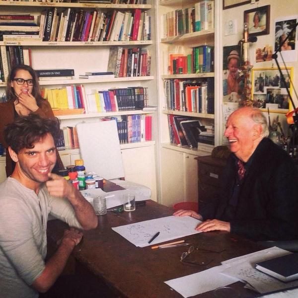 Mika and dario fo in his office, 2014 Milan Italy
