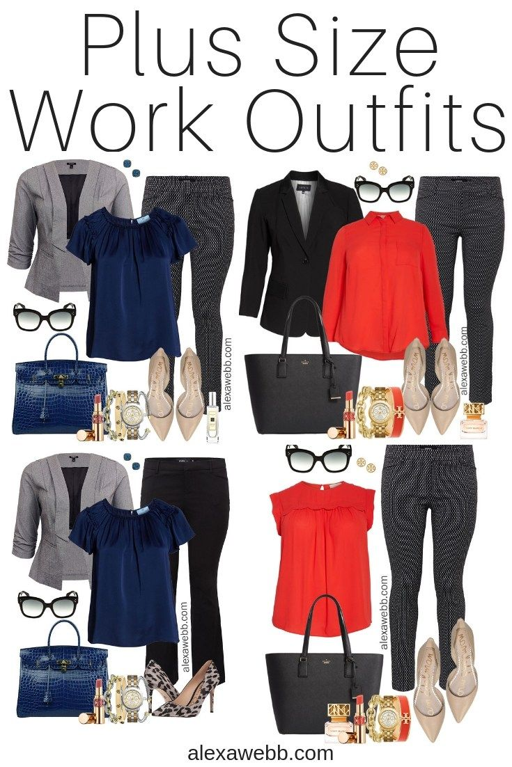 Plus Size Work Outfits - Black & White Pants