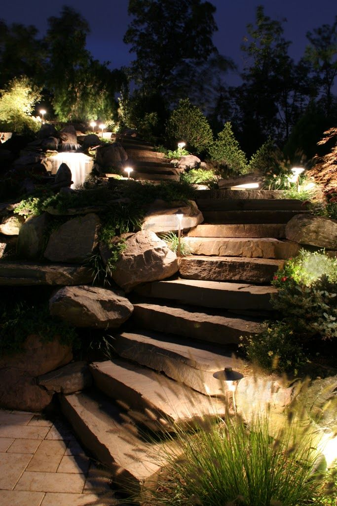 Outdoor lighting creates a scenic natural effect amidst this walkway in northern virginia