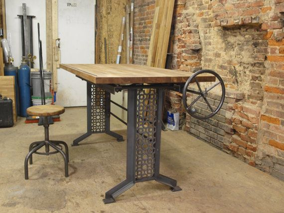 Oak Industrial Drafting Table Desk By CamposIronWorks On Etsy, $1975.00