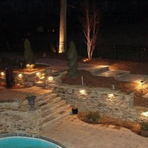 Light Up Retaining Wall   Love The Lighting Built Into This Wall. Yard  LandscapingWall LightingRetaining WallsOutdoor DecorOutdoor SpacesSwimming  ...