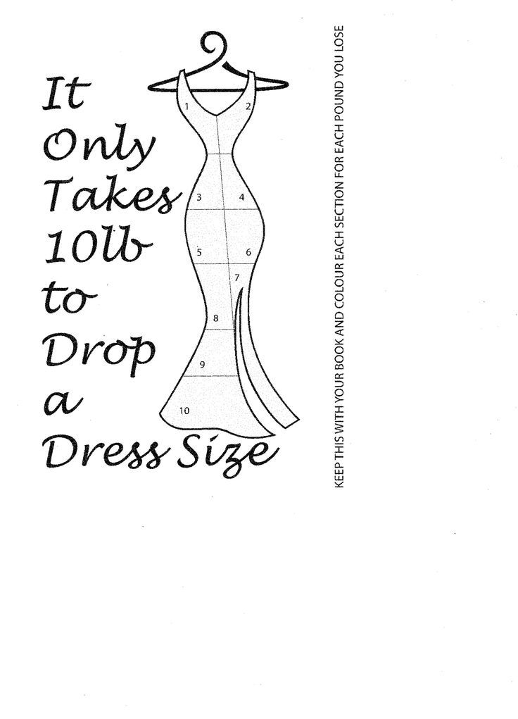Lose 10 lbs and drop a dress size. Colour in each section