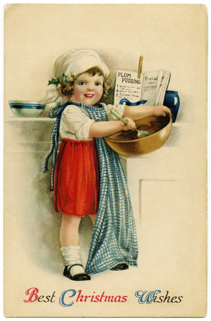 vintage Christmas postcard, Christmas girl baking, Victorian girl cooking, Ellen Clapsaddle: