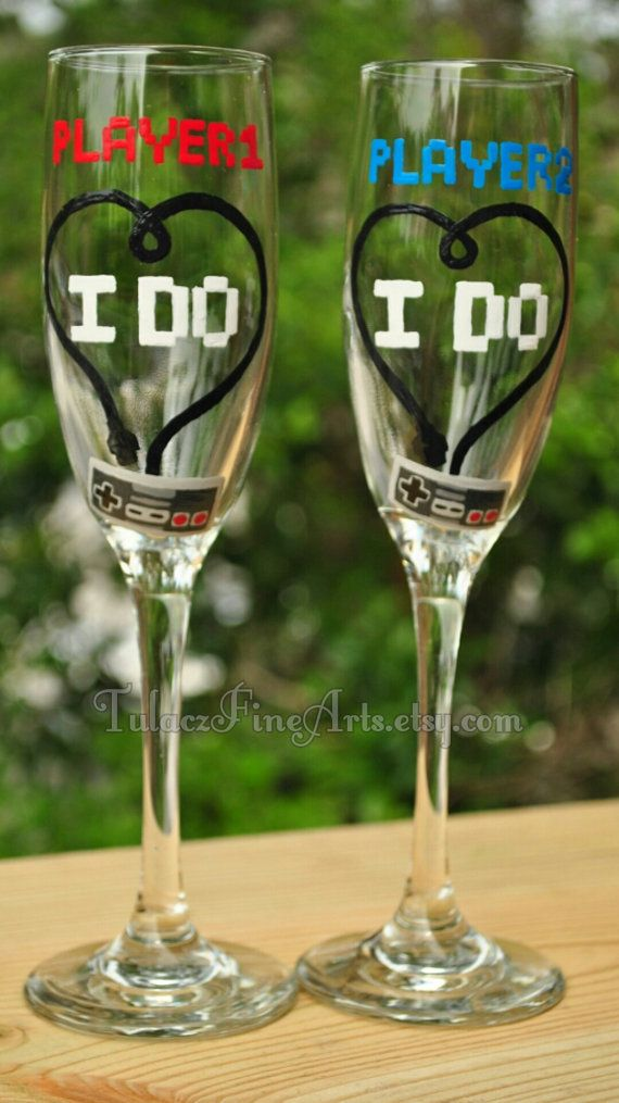 Hey, I found this really awesome Etsy listing at https://www.etsy.com/listing/188195040/hand-painted-video-game-wedding-glasses
