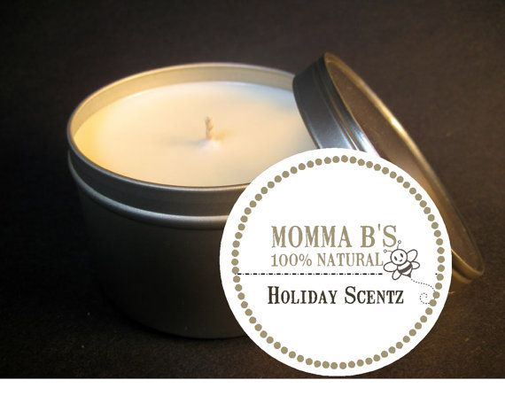 Eco Soy Christmas Holiday Fragrance Candle Tin by MommaBNaturals, $7.99