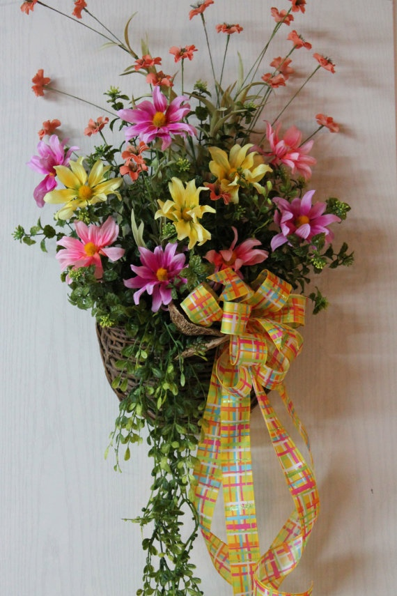 Elegant Front Door Basket Colorful Daisies Wild By FloralsFromHome, $80.00