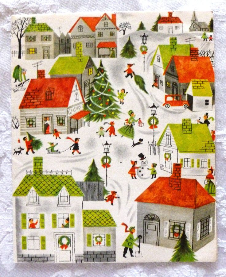 Vintage Bright and Cheery 1950's Christmas Card by AnAntiqueAffair