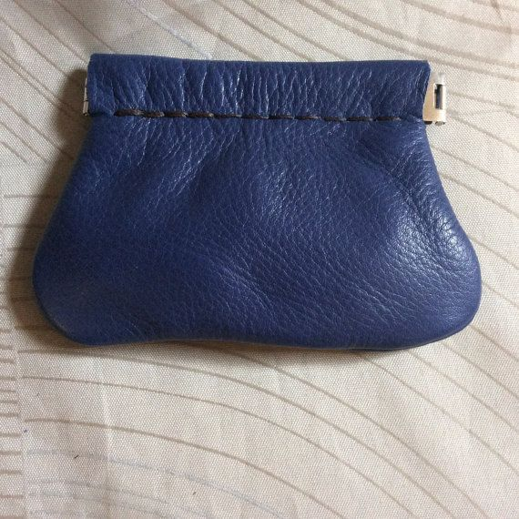 Blue Squeeze Coin purse leather coin pursesoft door CLNleathercraft