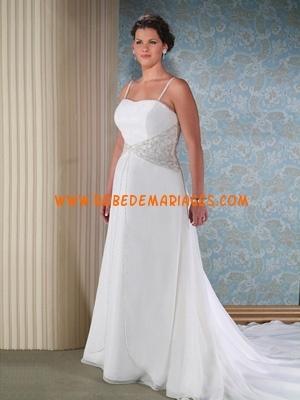 Robe de mariée grande taille mousseline sur mesure