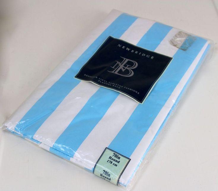70 inch Round Sky Blue Striped Tablecloth Vinyl Flannel Back #Newbridge