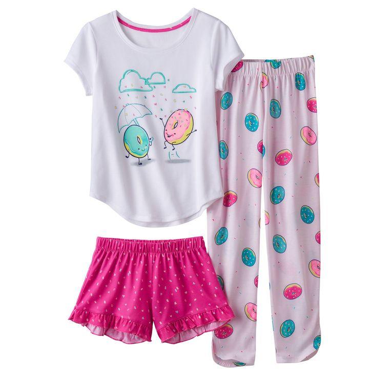 Girls 4-16 SO® 3-pc. Sprinkle Donut Pajama Set, Girl's, Size: Xxs (4), Natural