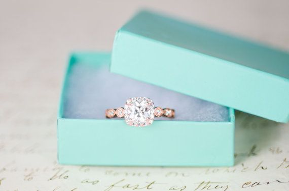 Rose Gold Engagement Ring Cushion Cut Halo Ring by MochaRings