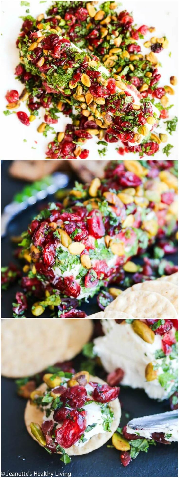 Cranberry Pistachio Mint Goat Cheese Appetizer - this elegant appetizer is perfect for Christmas. It is SO easy - just 5 ingredients and it can made in no time! ~ http://jeanetteshealthyliving.com