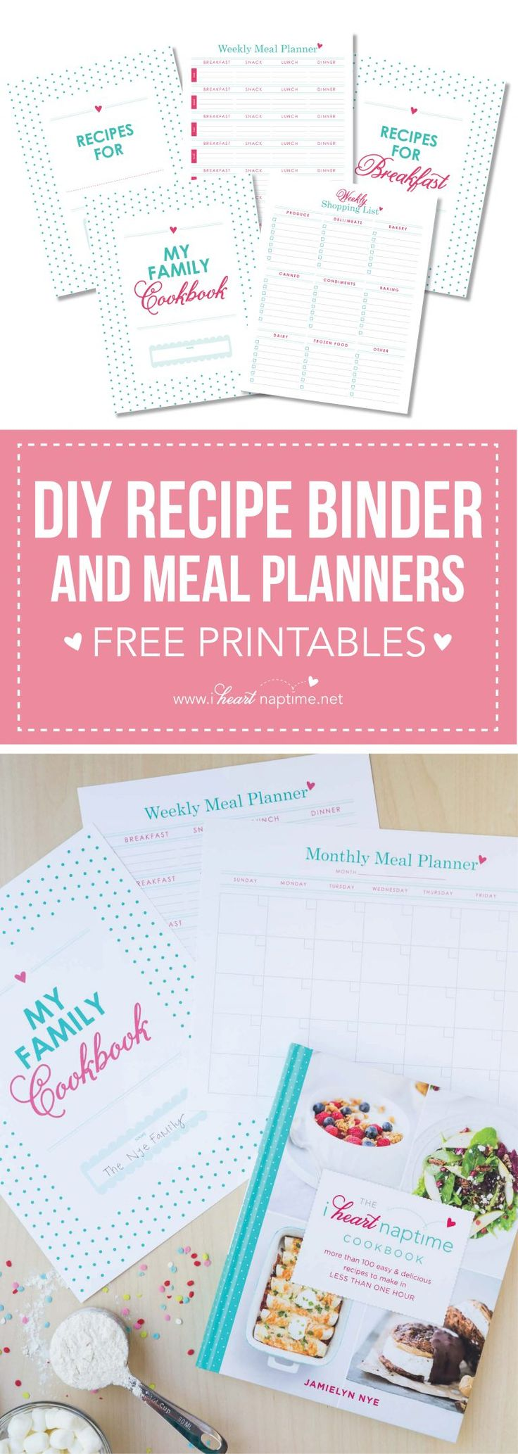 DIY Recipe Binder – FREE with The I Heart Naptime Cookbook… enjoy this helpful…