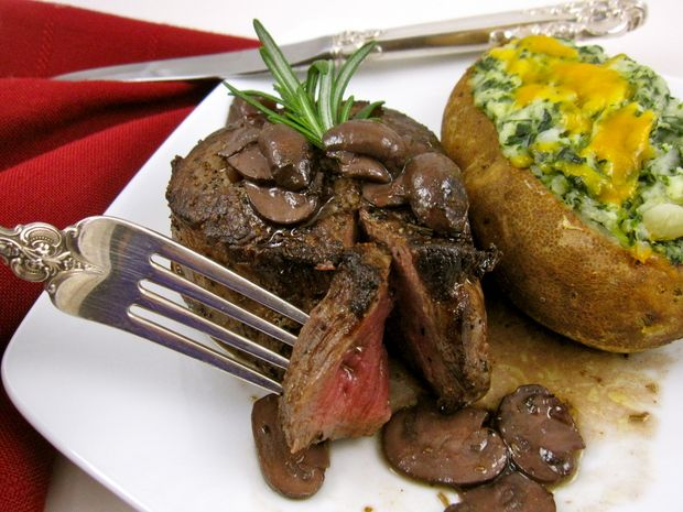 ... Double Smoked Bacon Wrapped Fillet Mignon With Caramelized Mushrooms