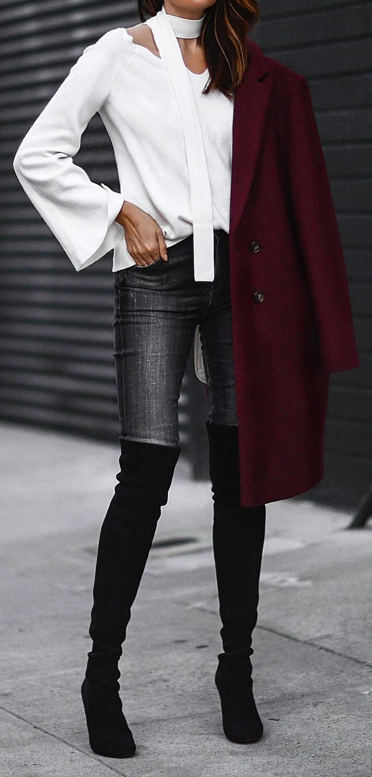 White Blouse // Red Coat // Skinny Jeans // Over The Knee Boots                                                                             Source