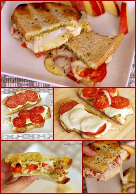 Pesto Pizza Grilled Cheese Sandwiches