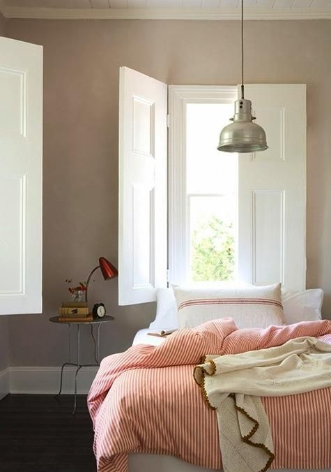simple bedroom: Lights, Modern Farmhouse, Wall Colors, Beds, Bedrooms Design, Interiors, Grey Wall, Windows Shutters, Gray Wall