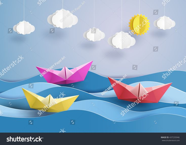 origami made colorful sailing boat.paper art style.