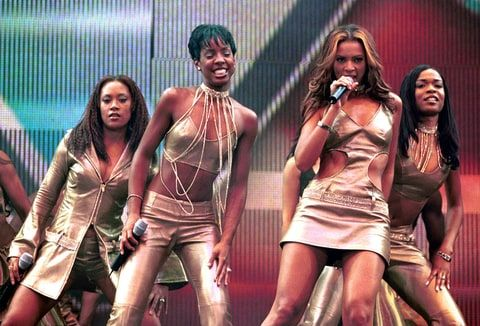Destiny's Child perform live on stage at the TMF Awards at Ahoy in Rotterdam, Netherlands on 15th April 2000. Left to right: Farrah Franklin, Kelly Rowland, Beyonce Knowles and Michelle Williams.