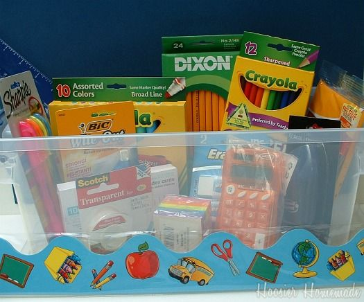 Create a Homework Box that stores all of the supplies needed for kids to do their work.