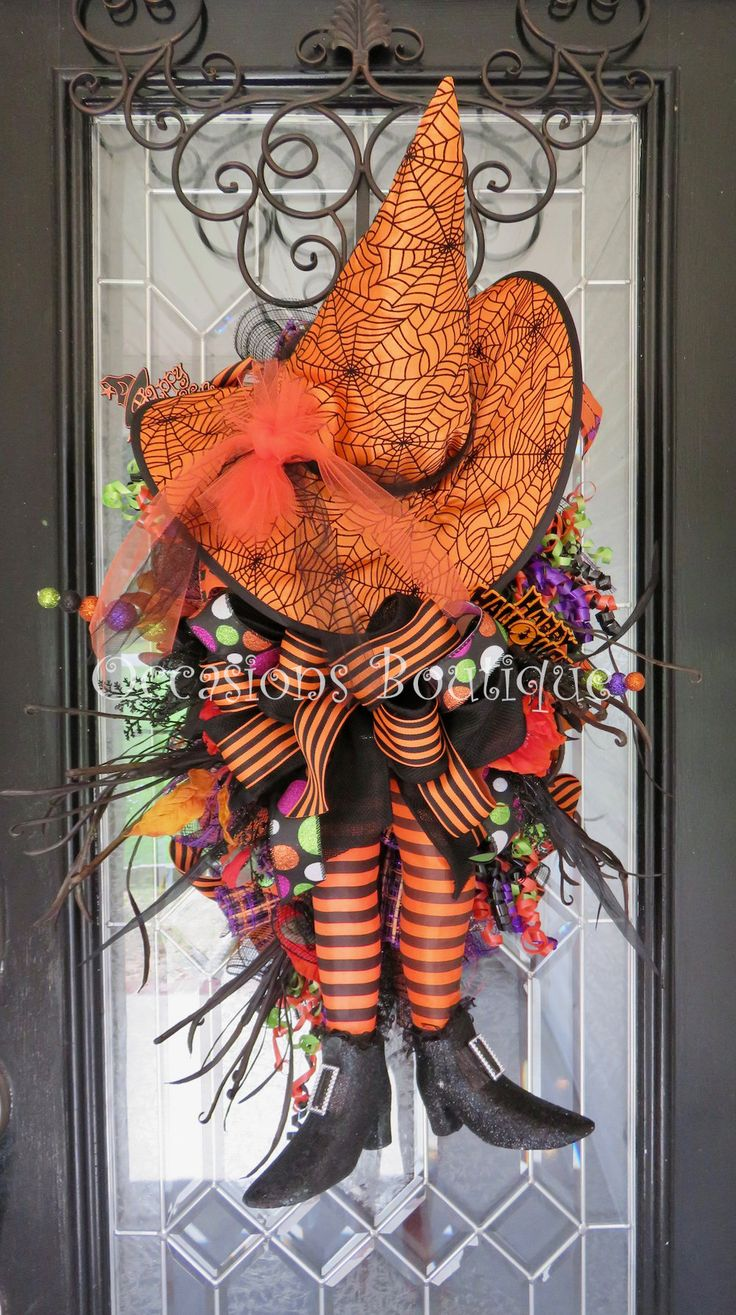 Halloween Wreath, Halloween Door Hanger, Fall Wreath, Door Swag, Witch Wreath, Whimsical Halloween Decoration, Large Wreath, Halloween Party by OccasionsBoutique on Etsy