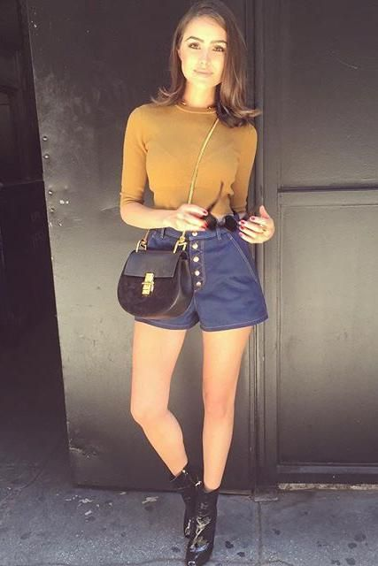 Olivia Culpo wearing A.L.C. Hansen Knit Top, Rag \u0026amp; Bone Branson ...