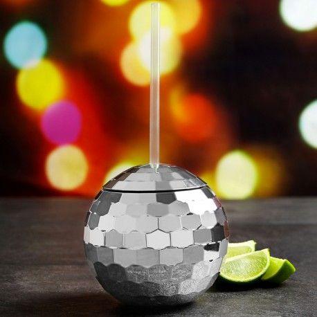 Verre boule à facette disco #fête #disco #boisson #mug #soirée #gadget #bringue