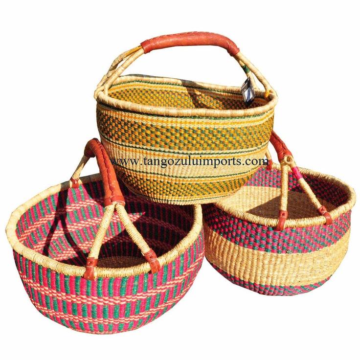 African Baskets Extra Large Market Bolga Basket Assorted
