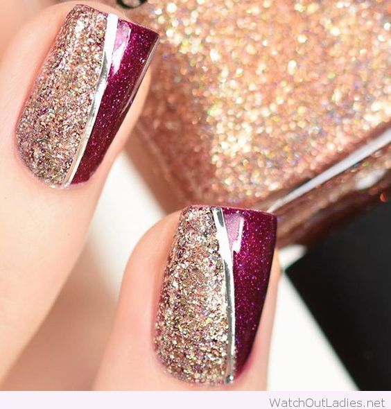 Gold and burgundy nails